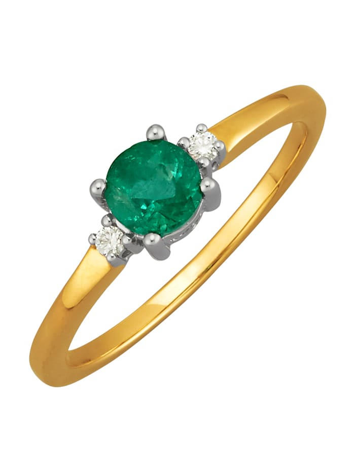 Diemer Farbstein Damenring mit Smaragd und Diamanten, Grün