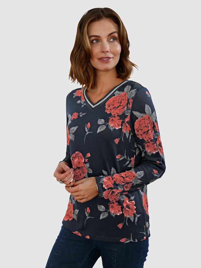 Paola Shirt met bloemendessin, Marine