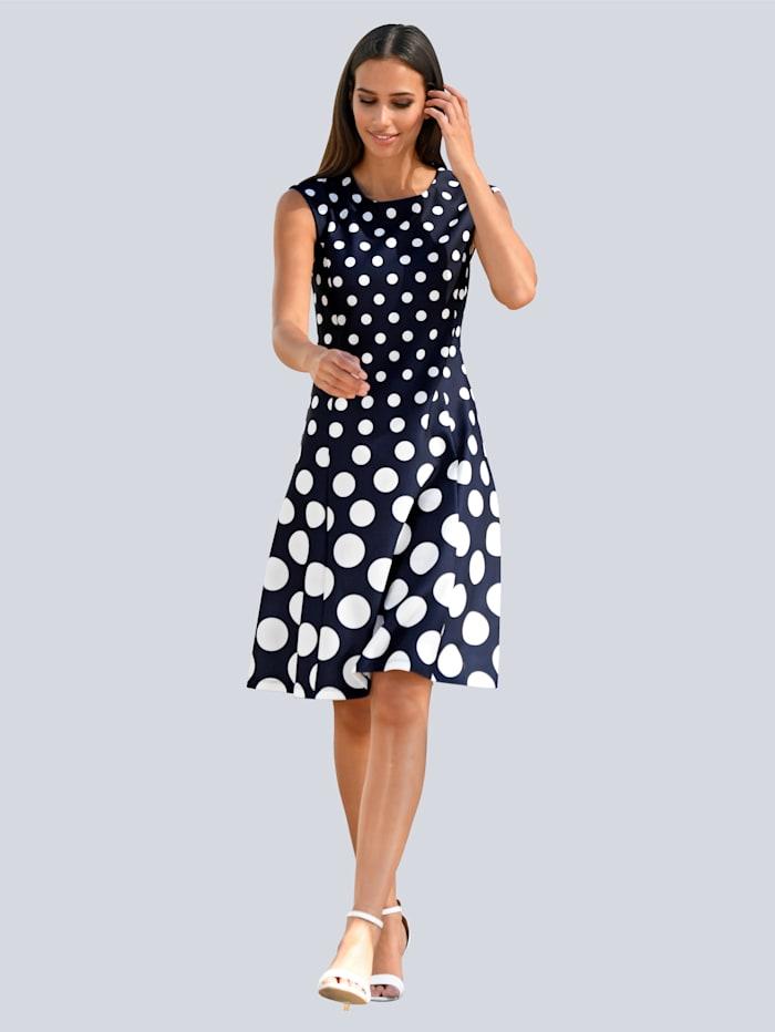 Alba Moda Kleid im Punktedessin allover, Marineblau/Off-white