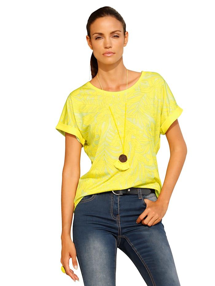 AMY VERMONT Shirt met gedessineerde voorkant en effen achterkant, Geel