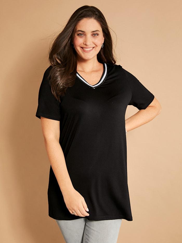 MIAMODA Shirt mit sportivem Dekoband am Ausschnitt, Schwarz