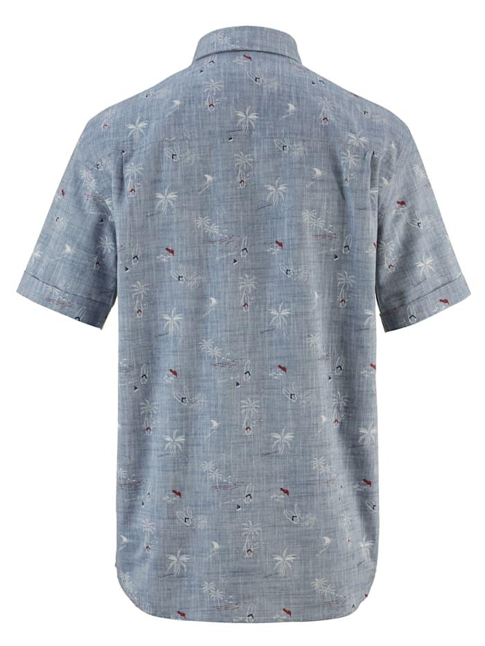 Linskjorte med garnfarget mønster og trykk