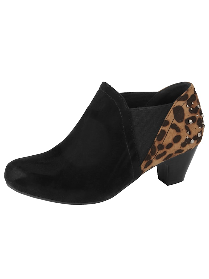 Liva Loop Ankle Boot in Leo-Print Optik, Schwarz
