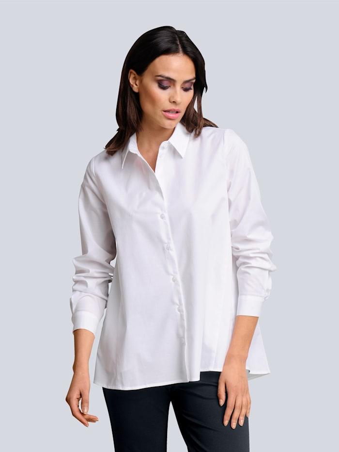 Alba Moda Bluse mit weitem Saum, Weiß
