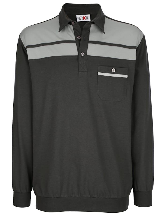 Roger Kent Poloshirt met contrastkleurige inzetten, Donkergrijs/Zilvergrijs