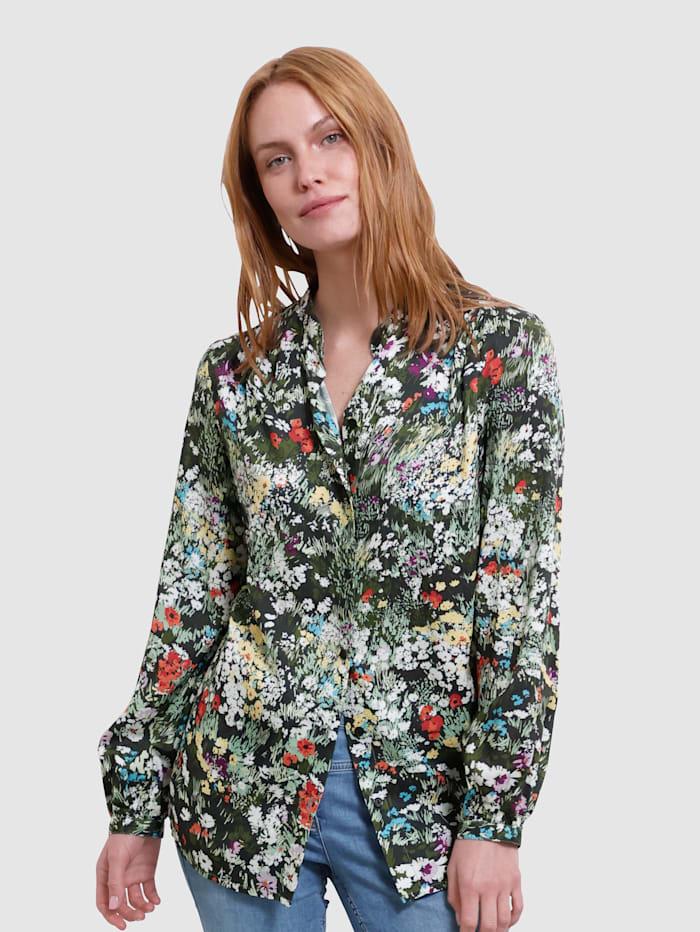 Laura Kent Blus med blommigt mönster, Svart