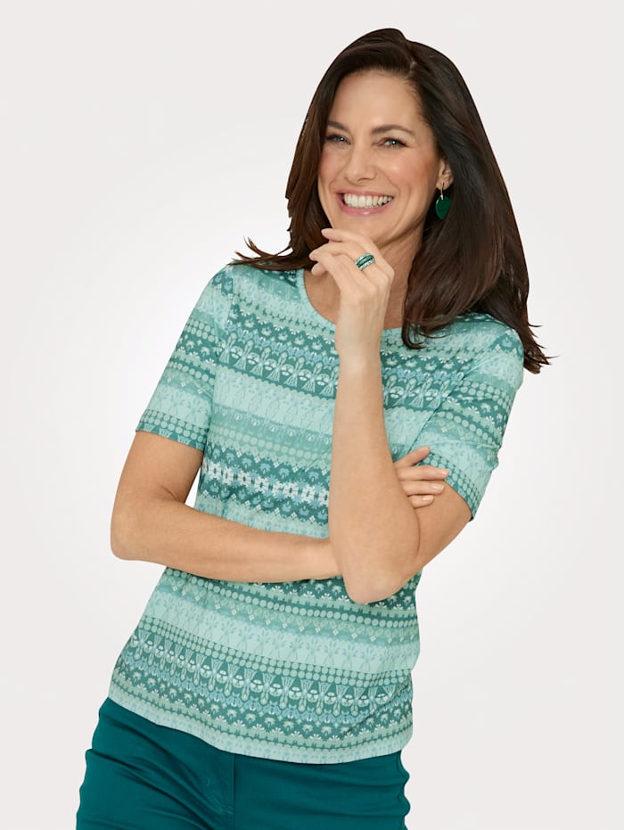 MONA Top with a graphic print, Mint/Ecru
