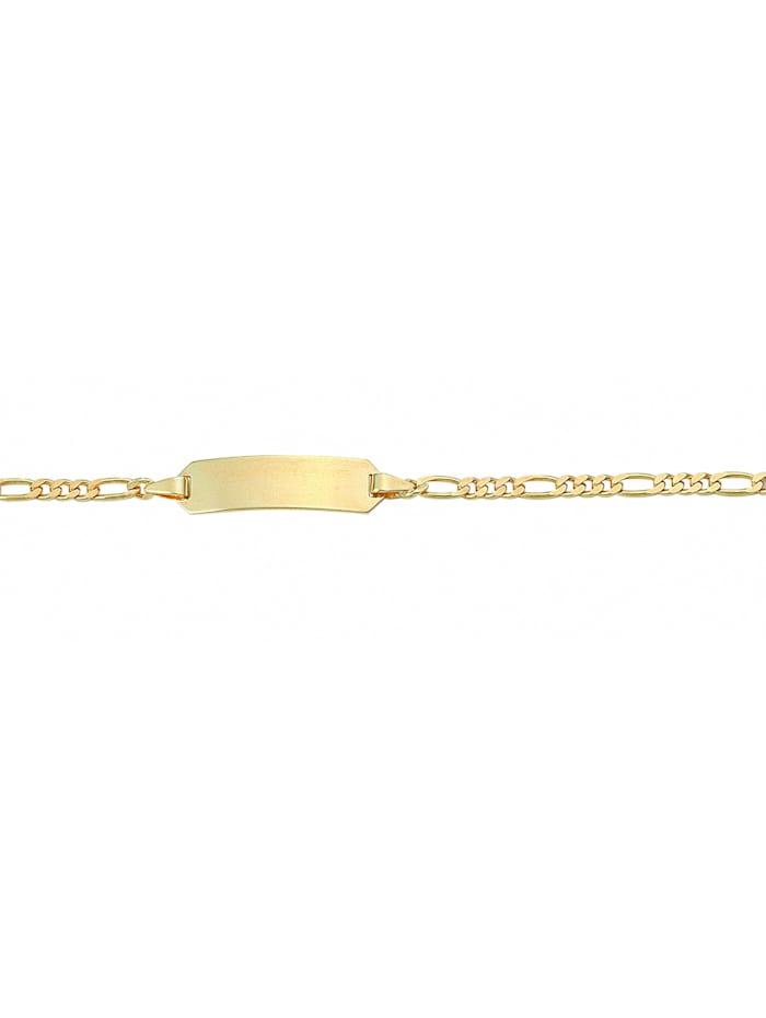 1001 Diamonds Damen Goldschmuck 585 Gold Figaro Armband 14 cm Ø 2,3 mm, gold