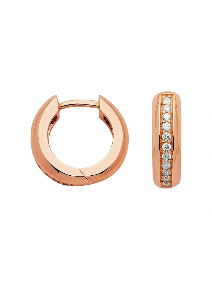1001 Diamonds Damen Silberschmuck 925 Silber Ohrringe / Creolen mit Zirkonia Ø 14,3 mm, rose