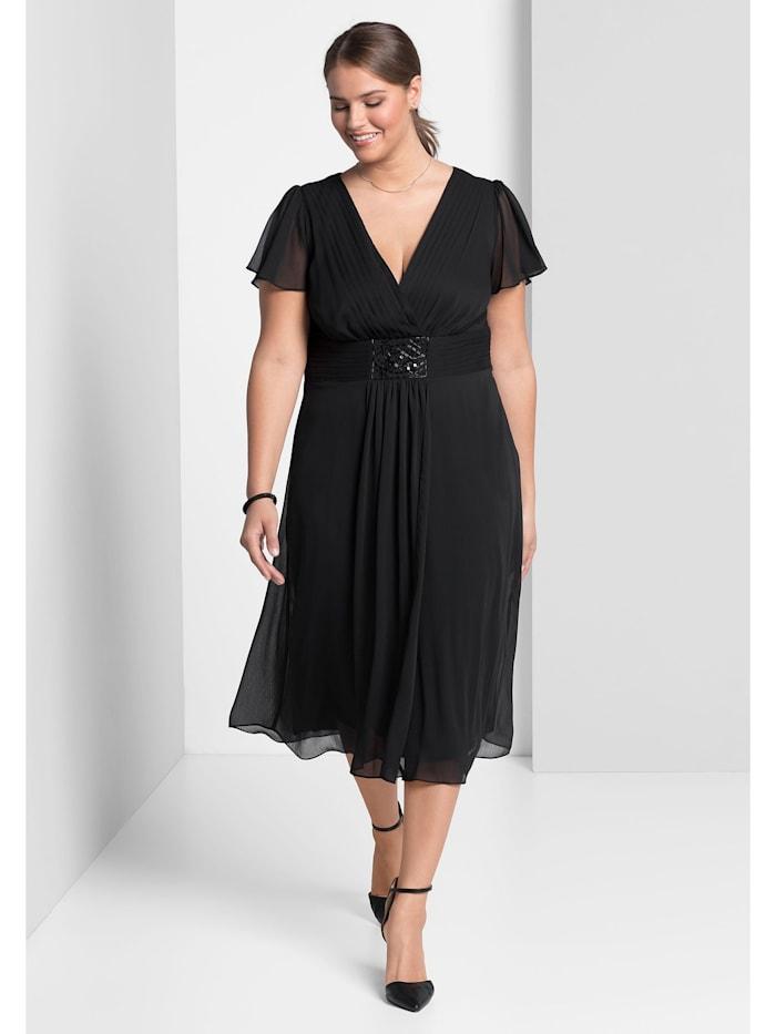Sheego Abendkleid mit  Alloverdruck, schwarz