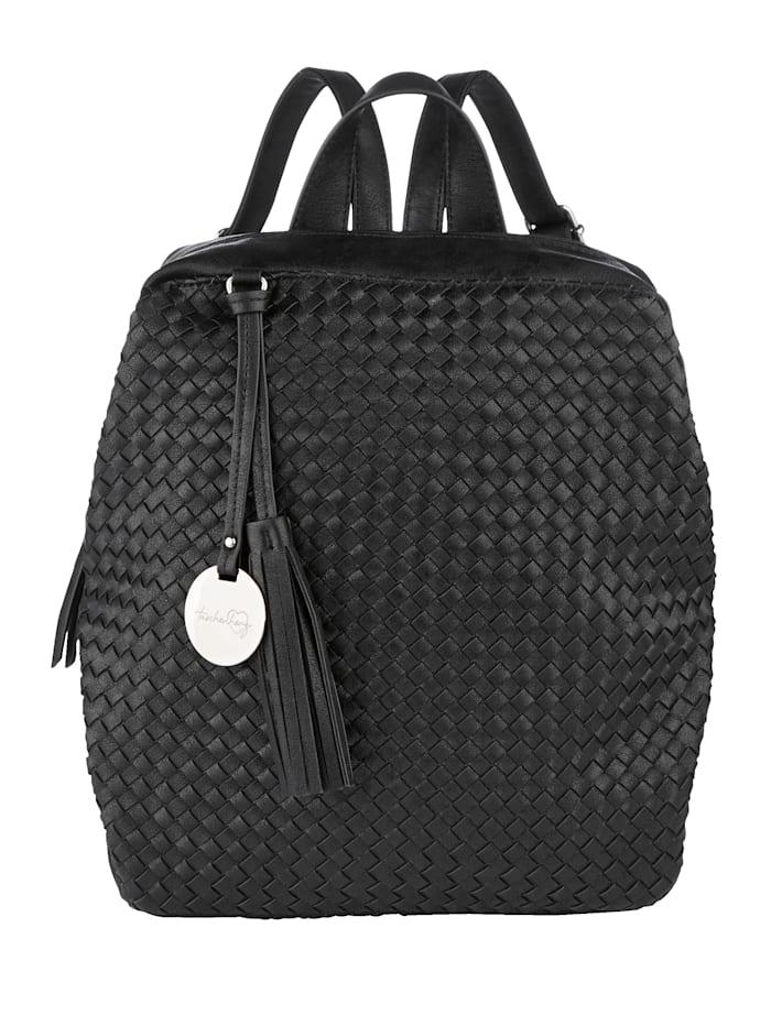 Taschenherz Rucksack in angesagter Flechtoptik, schwarz