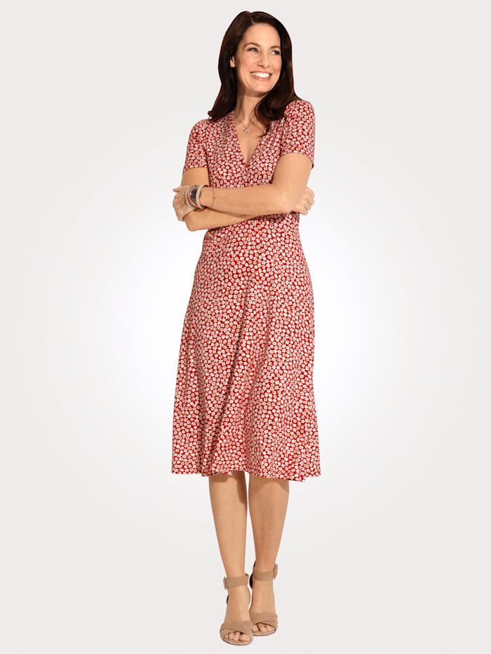 MONA Jersey dress in a wrap look, Red/Yellow/Ecru