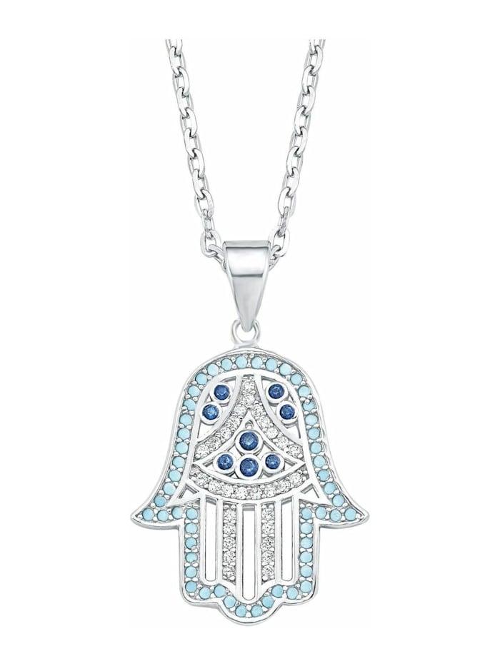 amor Kette mit Anhänger für Damen, Sterling Silber 925, Zirkonia Hamsa Hand, Blau