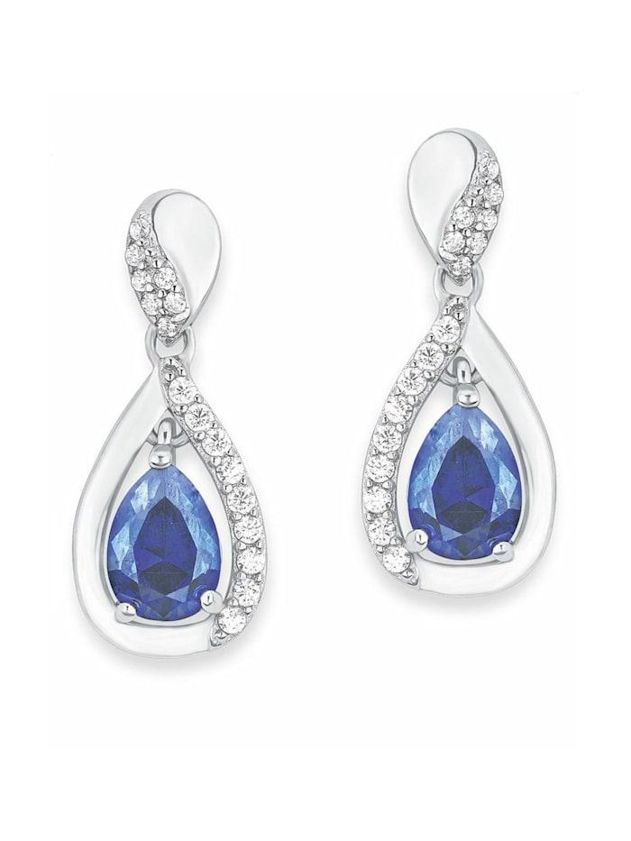 amor Ohrring für Damen, Sterling Silber 925, Zirkonia, Blau