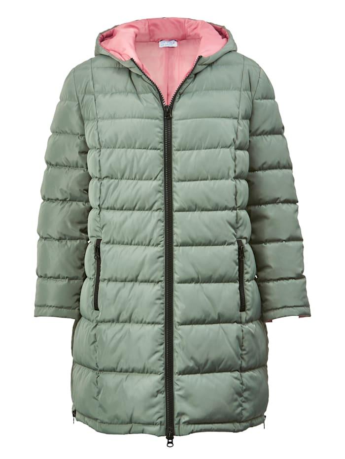 Gewatteerde jas met contrastkleurige voering