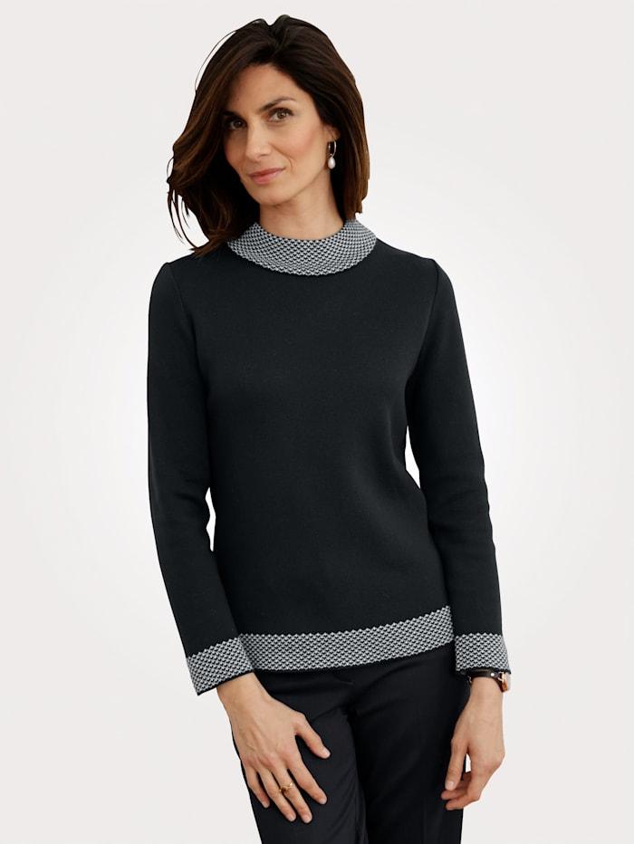 MONA Pullover mit Stehbund, Marineblau/Ecru