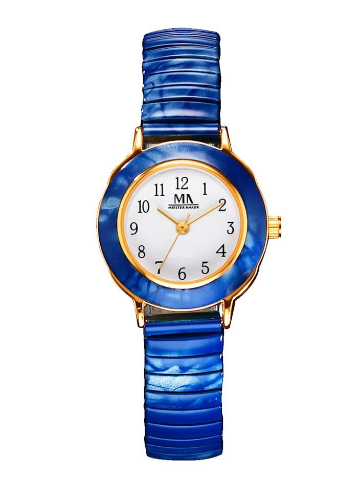 Meister Anker Damen-Quarzuhr mit Zugband, Blau