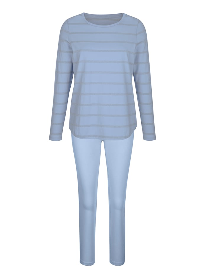 Simone Huispak met lurexstrepen, lichtblauw