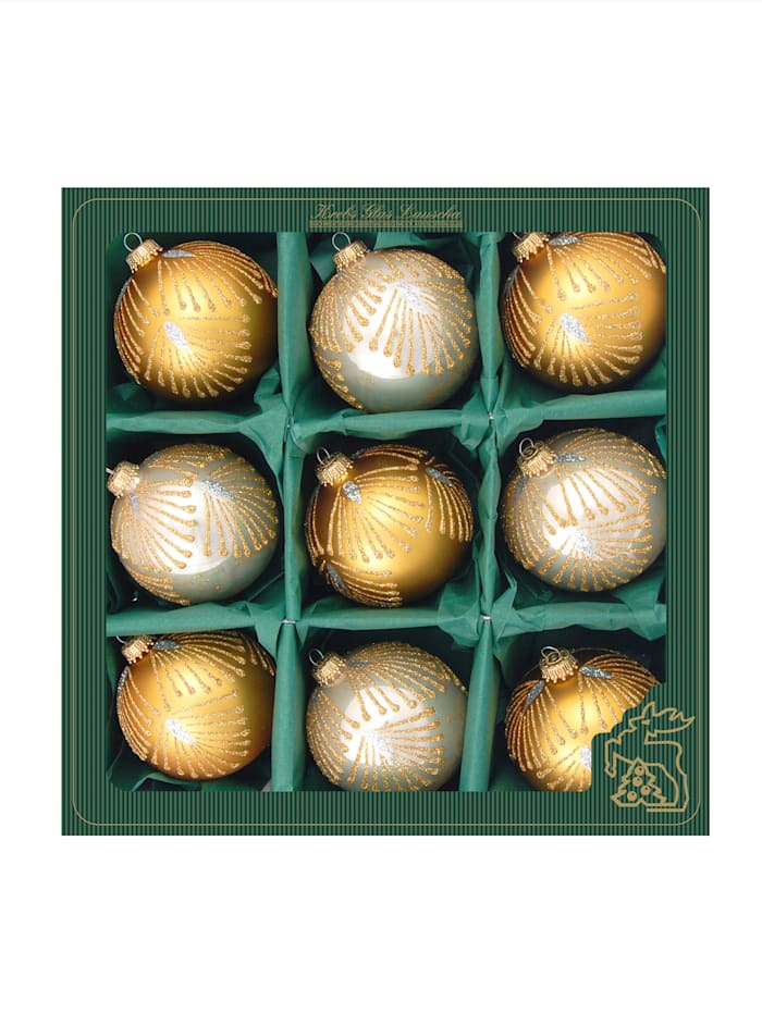 Krebs Glas Lauscha Weihnachtskugel-Set 'Elegance', Gold