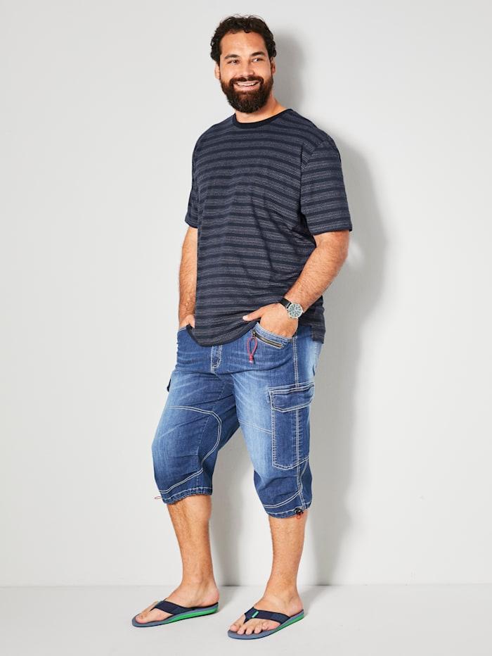 Men Plus T-shirt met ingebreid patroon, Marine/Wit