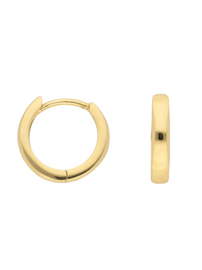 1001 Diamonds Damen Goldschmuck 585 Gold Ohrringe / Creolen Ø 12 mm, gold