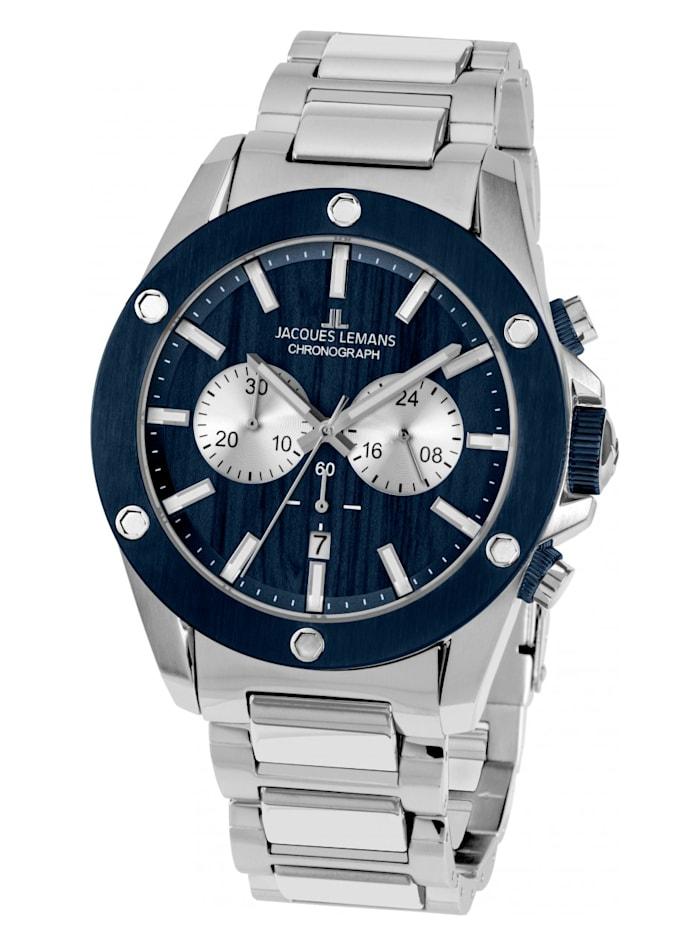 Jacques Lemans Herenchronograaf blauw/zilverkleur 1-1812F, Blauw