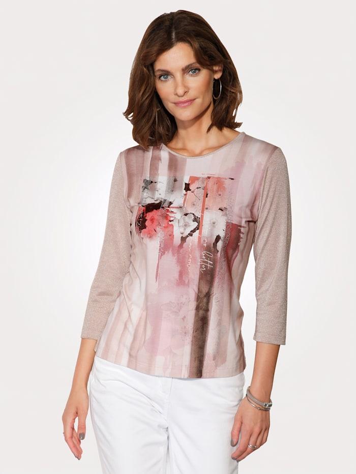 Rabe Shirt mit romantischem Druck, Taupe/Rosé