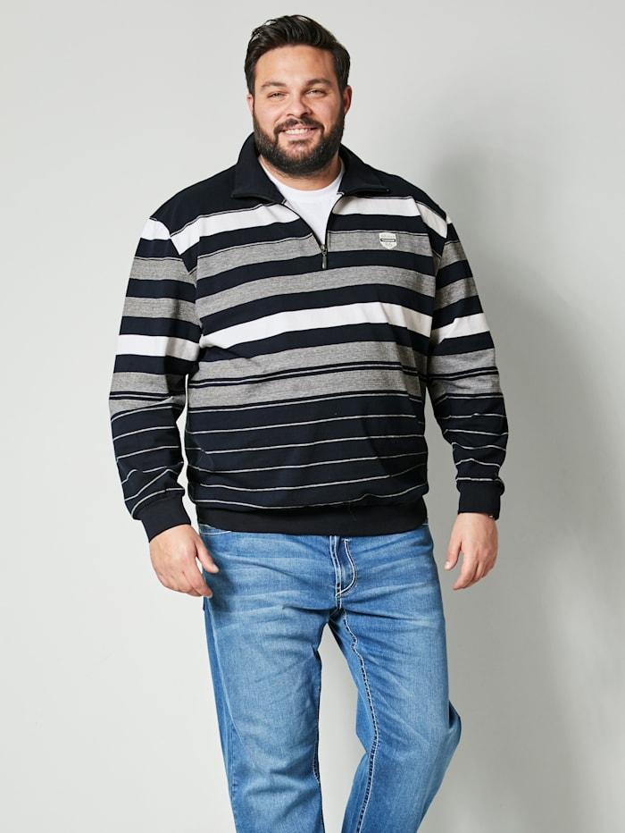 Men Plus Sweatshirt mit Umlegekragen, Marineblau/Weiß