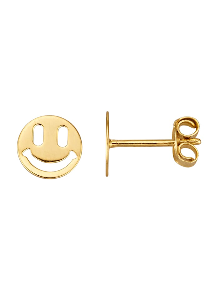 Smiley-Ohrstecker in Gelbgold 375, Gelbgoldfarben