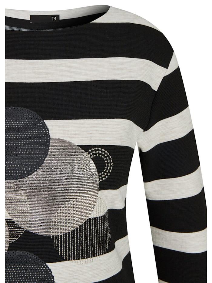 Shirt mit gestreiftem Muster und Glitzersteinen