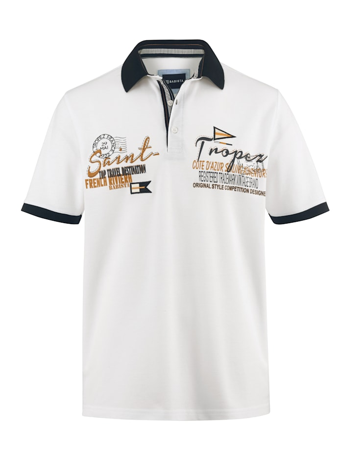 Poloshirt mit aufwändigen Kontrastdetails