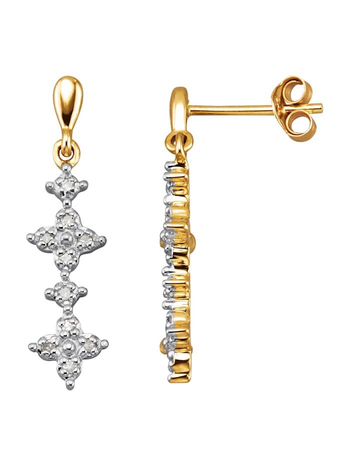 Boucles d'oreilles avec diamants, Coloris or jaune