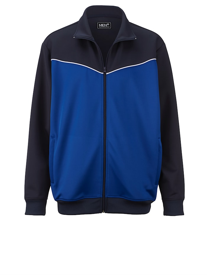 Men Plus Trainingsjack, marine/royal blue/wit