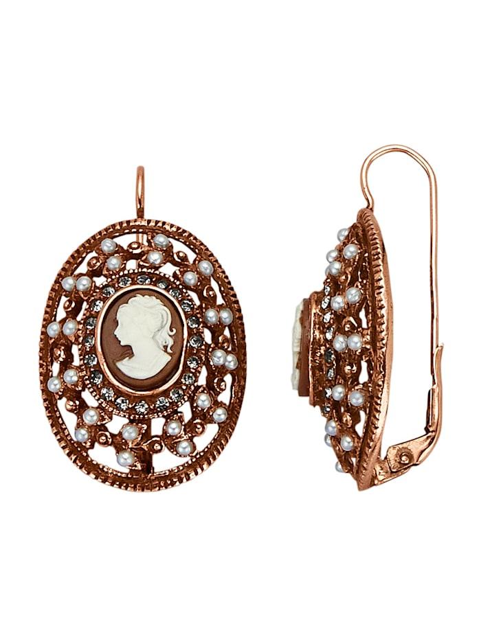 Ohrringe mit Perlen, Rosé