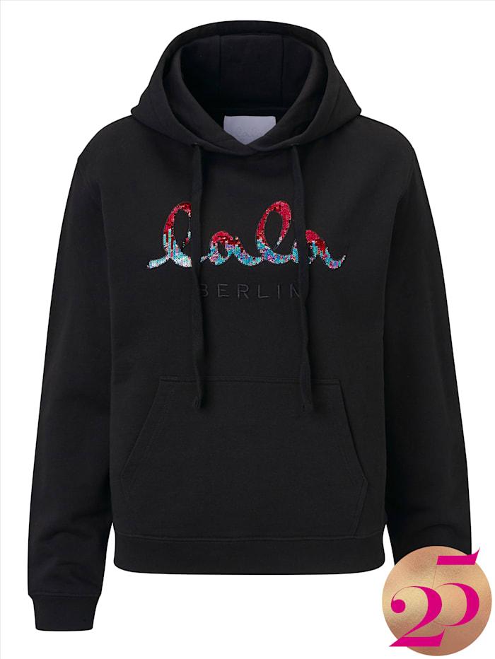 Lala Berlin Sweatshirt mit Pailletten, Jubiläumskollektion, Schwarz