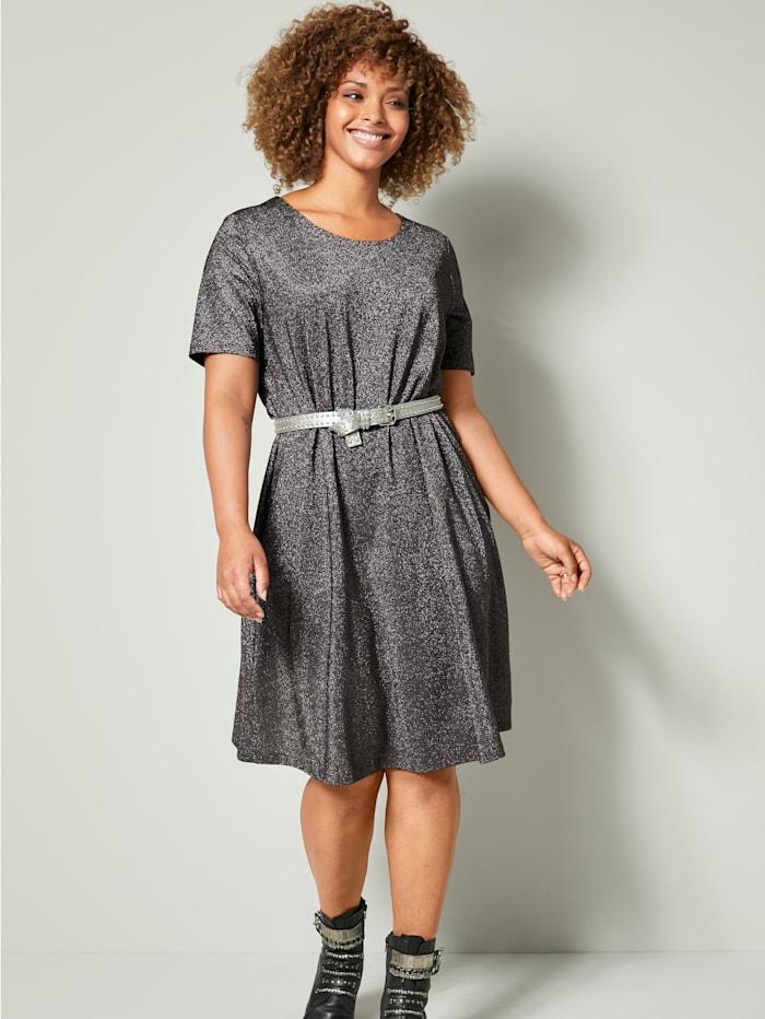 Angel of Style Jerseykleid aus Glitzerstoff, Silberfarben