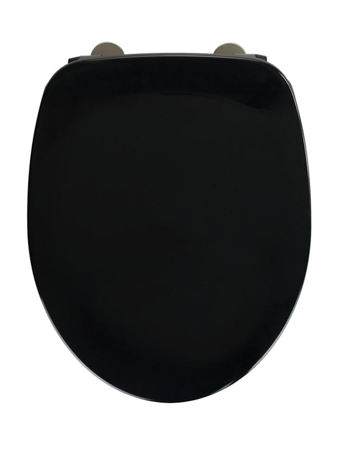 Wenko WC-Sitz Armonia Schwarz, Duroplast, mit Absenkautomatik, Schwarz, Befestigung: Silber matt