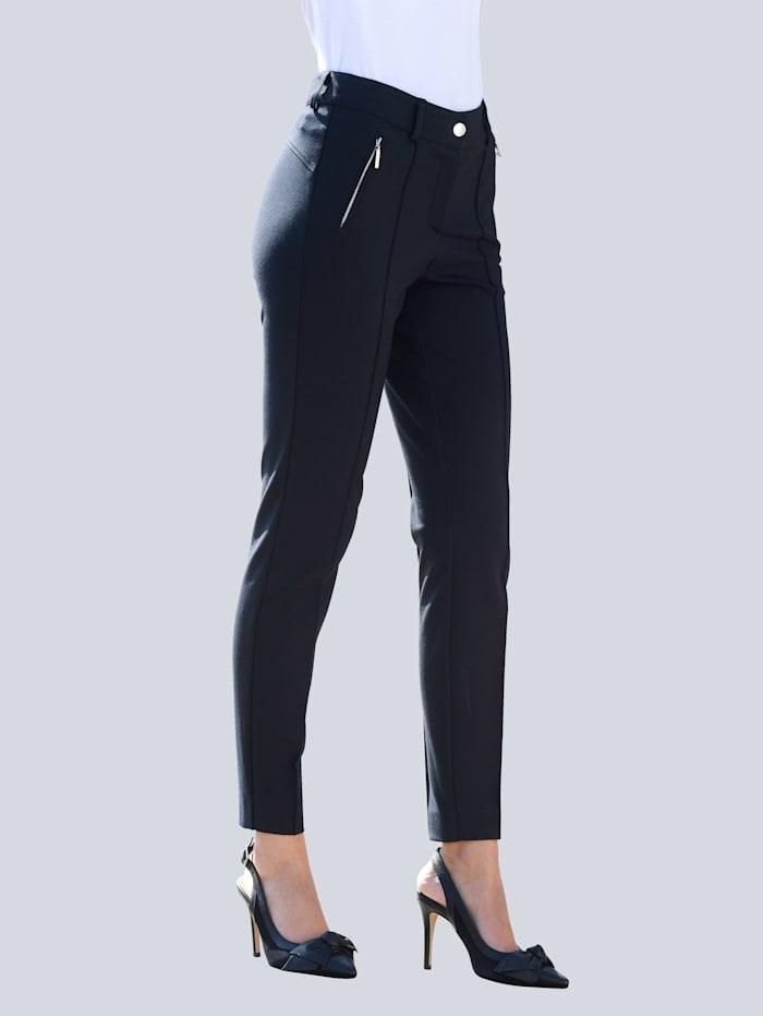 Alba Moda Pantalon à jambes mode plus étroites au bas, Marine