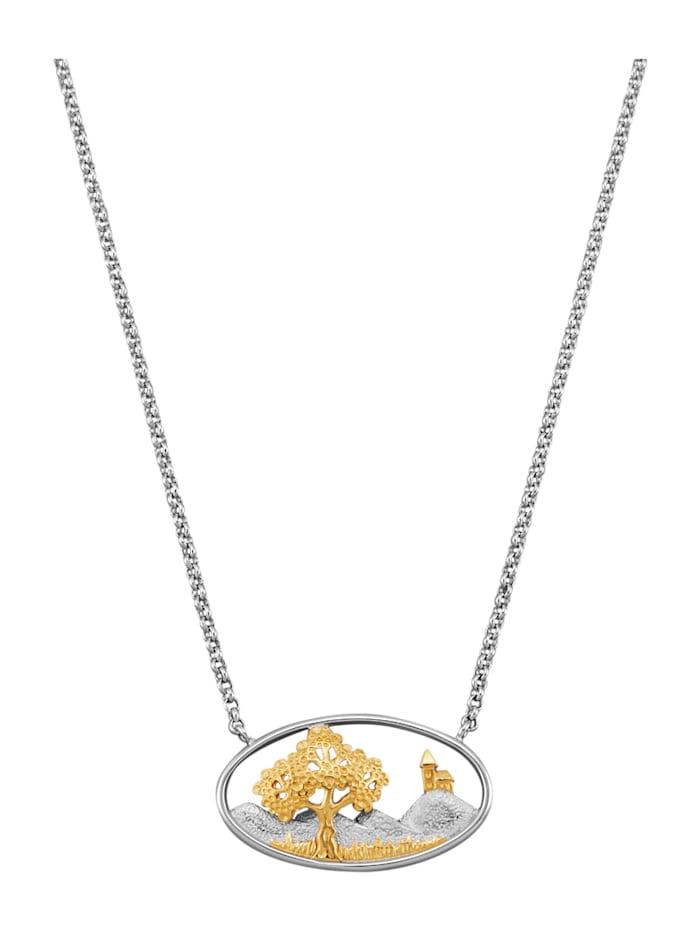 Amara Tendance Collier Pendentif avec motif de paysage, Coloris argent