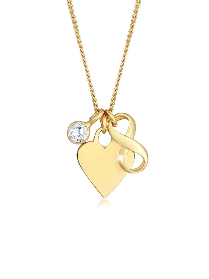 Nenalina Halskette Herz Infinity Zirkonia Solitär Liebe 925 Silber, Gold