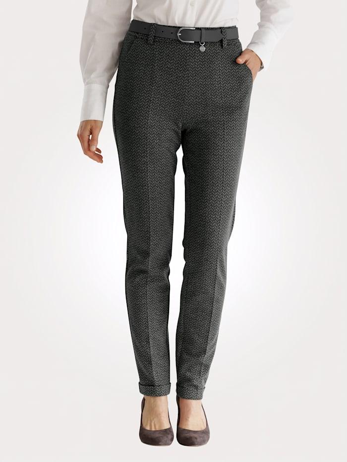 MONA Pantalon facile à enfiler à motif jacquard graphique, Gris/Noir