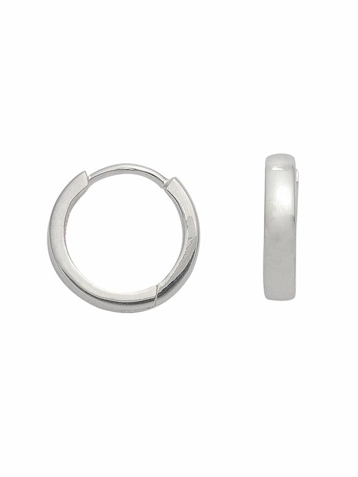 1001 Diamonds Damen Silberschmuck 925 Silber Ohrringe / Creolen Ø 14 mm, silber