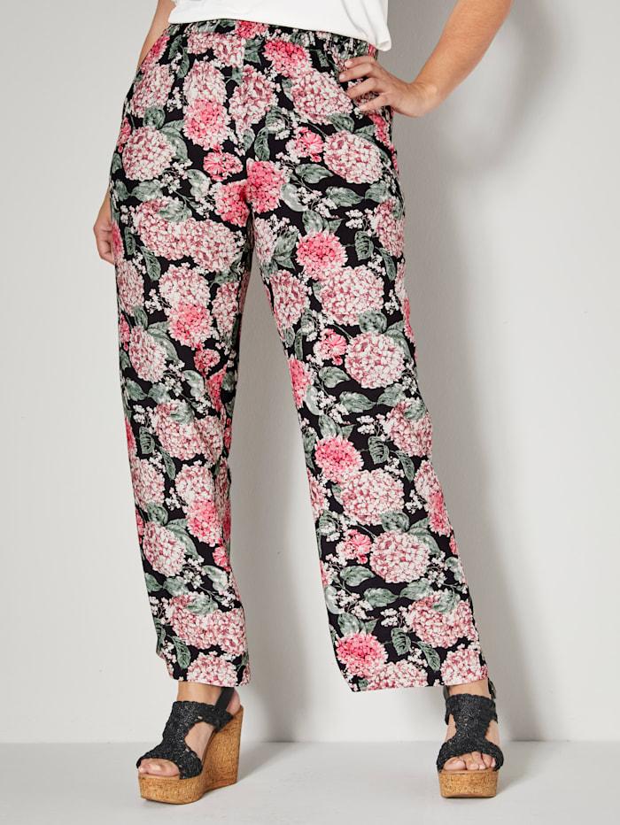 Sara Lindholm Instapbroek met bloemendessin rondom, Zwart/Pink/Roze