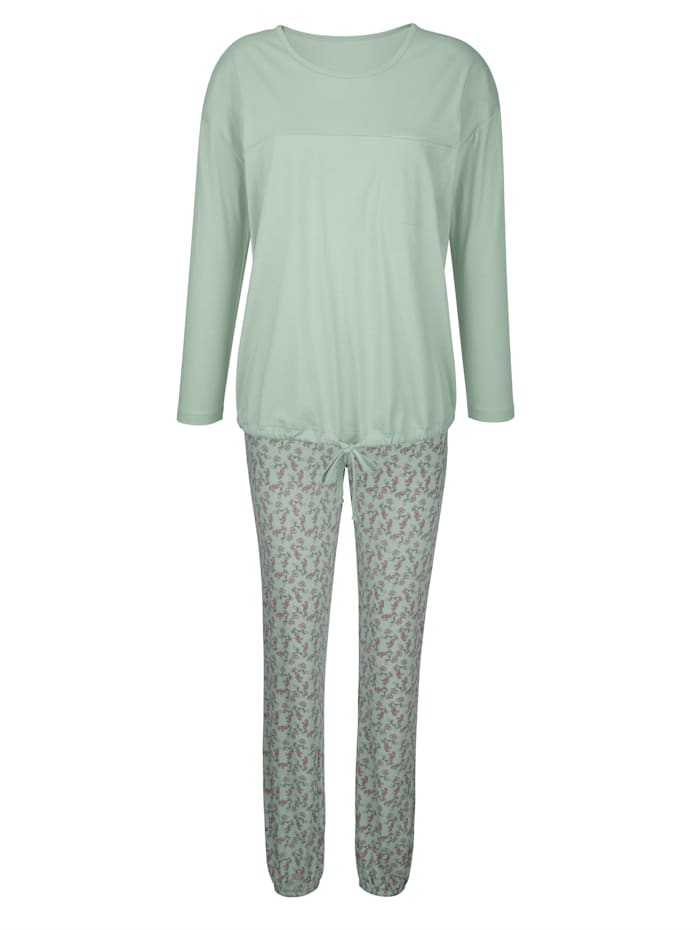 Simone Pyjama met sierbindbandje in de zoom, reseda/oudroze