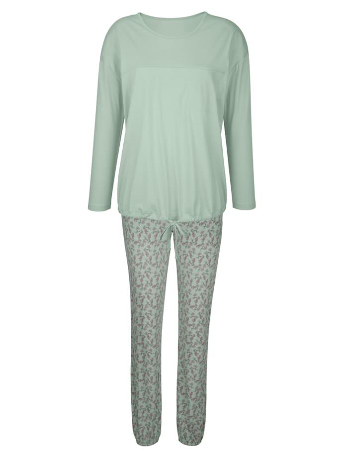 Simone Pyjamas med knytband i nederkant, Jade/Gammalrosa