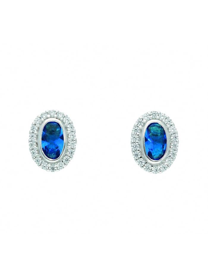 1001 Diamonds Damen Silberschmuck 925 Silber Ohrringe / Ohrstecker mit Zirkonia, blau