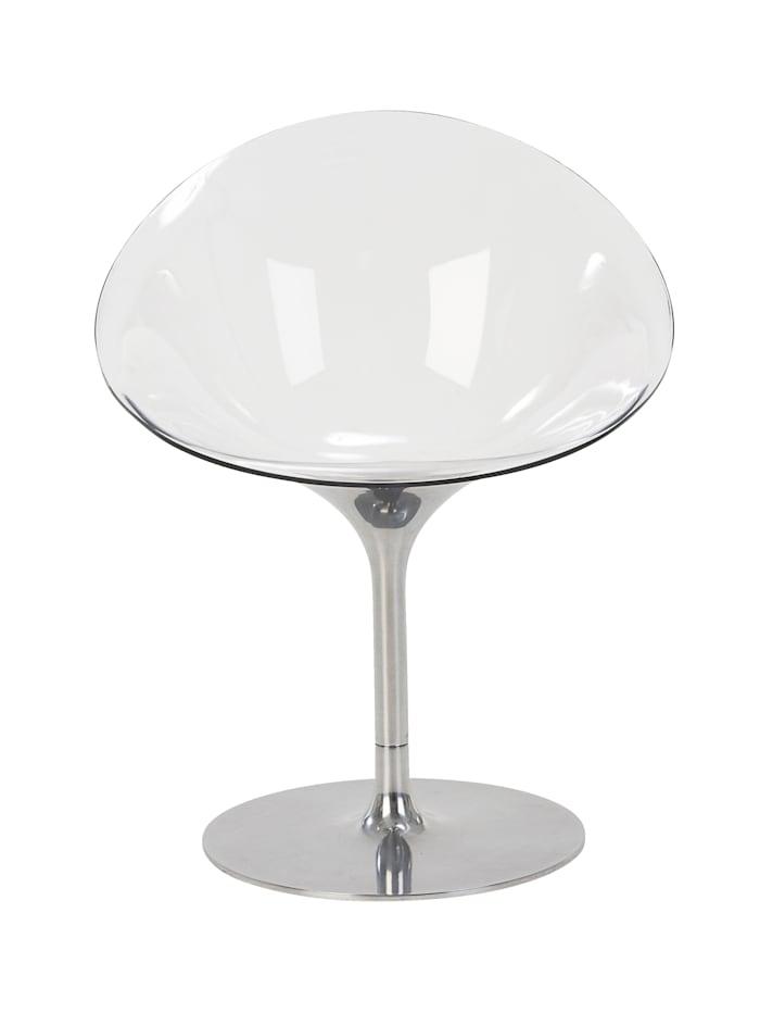 Kartell Drehstuhl, Transparent/Silberfarben