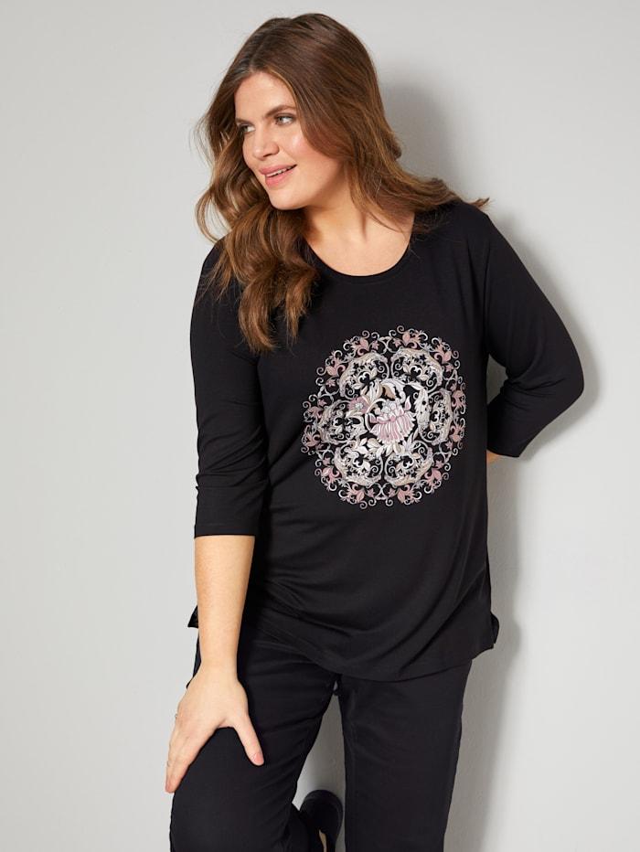 Janet & Joyce Shirt mit Blumendruck, Schwarz/Rosé