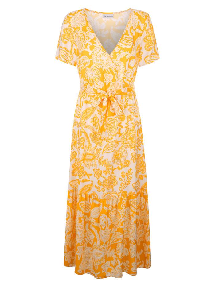 AMY VERMONT Kleid in Wickeloptik, Gelb/Weiß