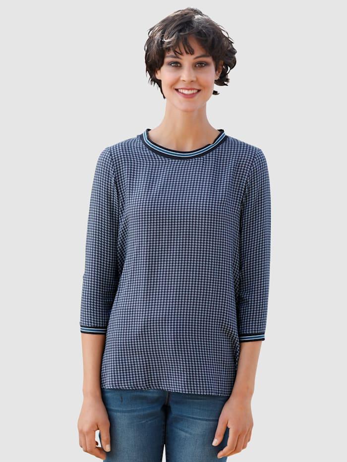 Dress In Bluse mit Materialmix, Marineblau